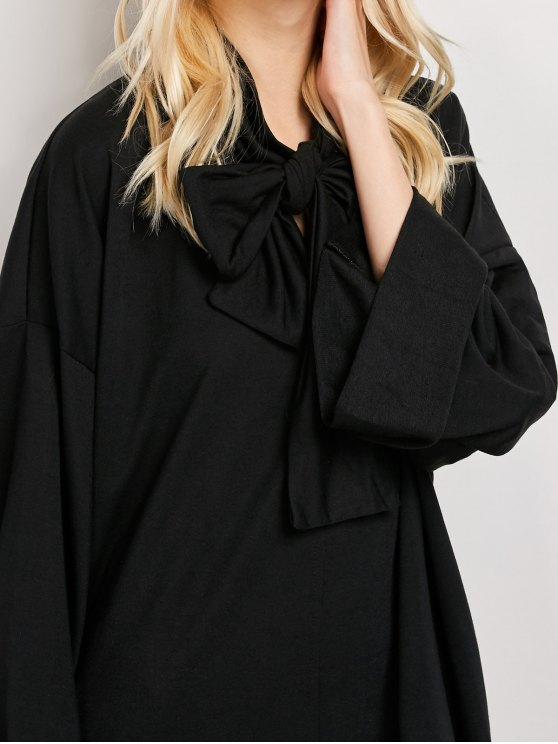 Wide Sleeve Pussy Bow Dress with Pocket - BLACK XL Mobile