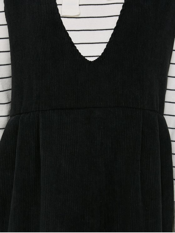Plunging Neck Suspender Dress - BLACK L Mobile