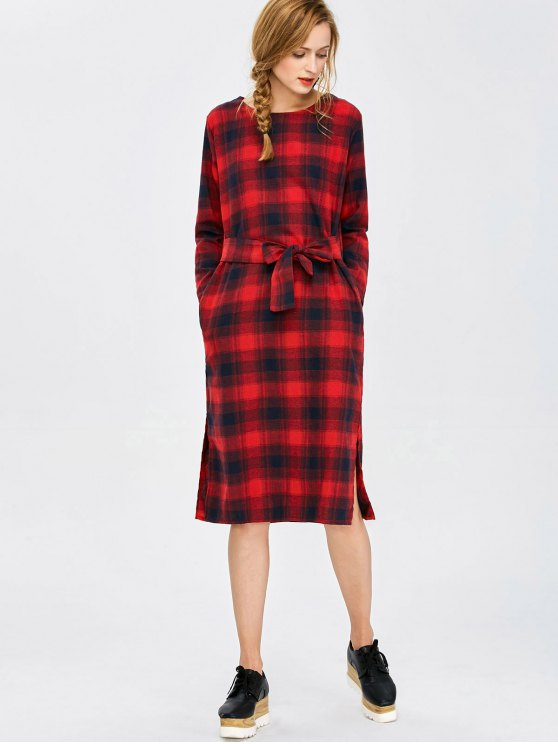 Self Tie Slit Checked Dress - PLAID M Mobile