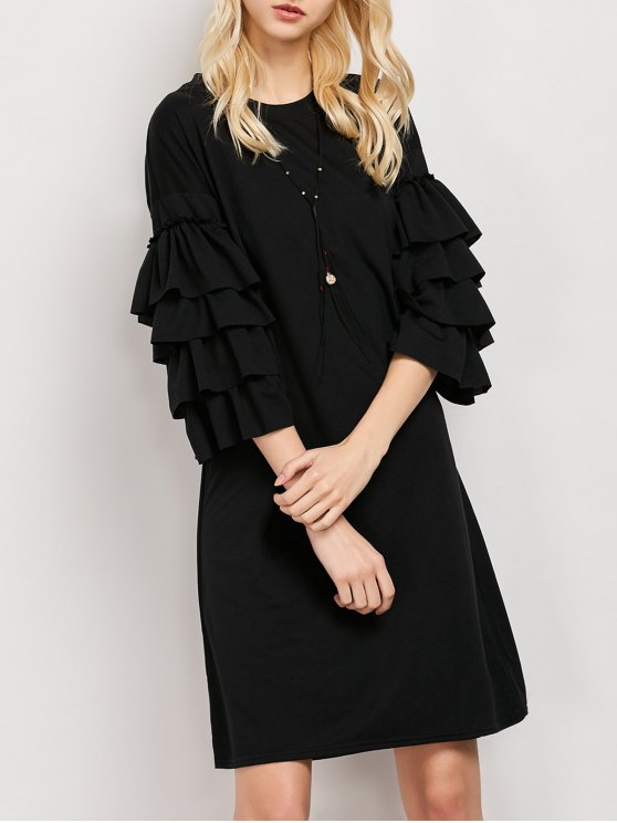 Frilled Sleeve Tunic Dress - BLACK M Mobile
