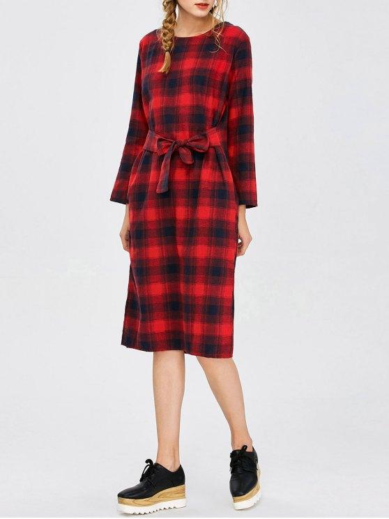 Self Tie Slit Checked Dress - PLAID M Mobile