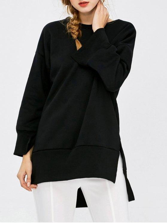 Slit High Low Sweatshirt - BLACK L Mobile