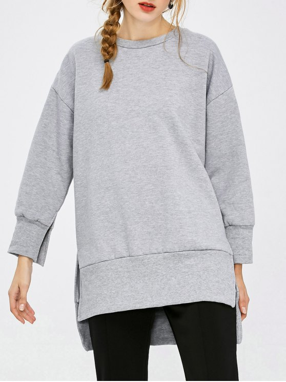 Slit High Low Sweatshirt - GRAY L Mobile