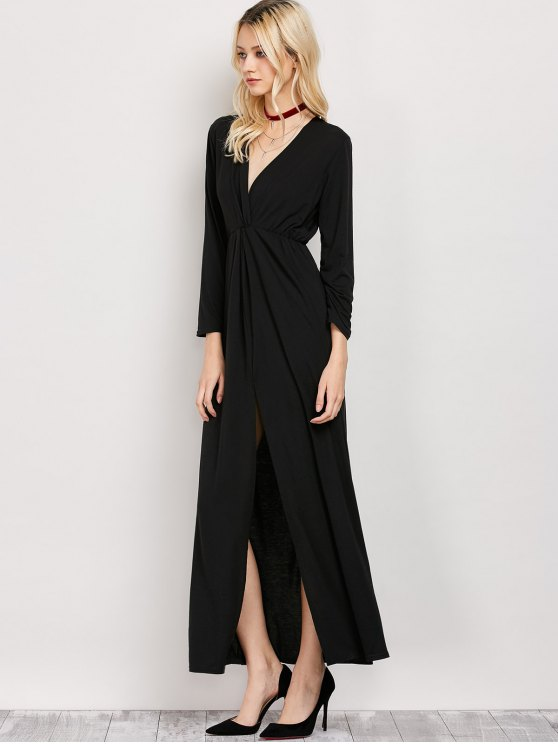 Long Sleeve Maxi Plunge Dress with Slit - BLACK M Mobile