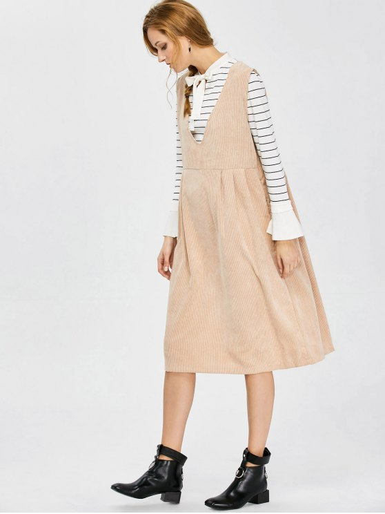 Plunging Neck Suspender Dress - KHAKI XL Mobile