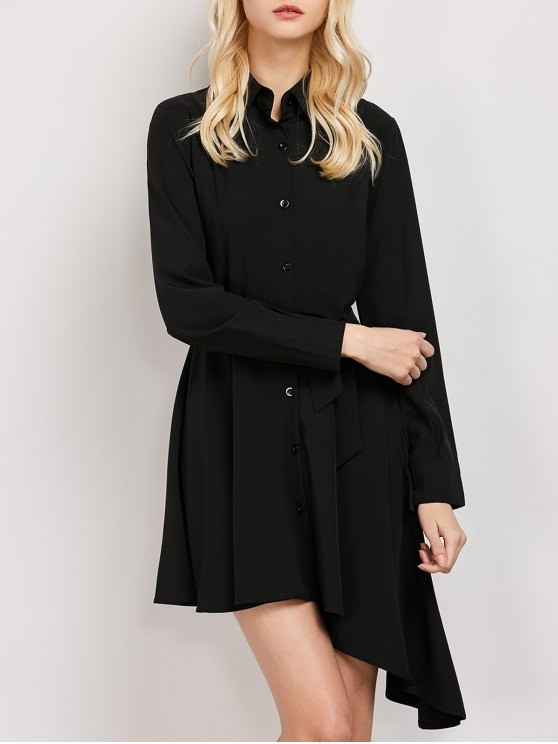 Tie Belt Asymmetric Shirt Dress - BLACK M Mobile