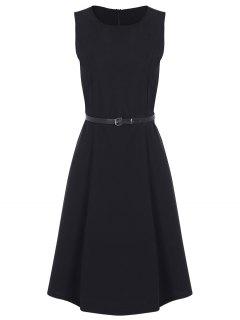 Jewel Neck Vintage Dress With Belt - Black S