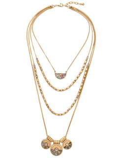 Faux Gem Circle Layered Necklace - Golden