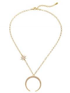 Rhinestoned Star Moon Pendant Necklace - Golden
