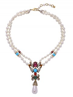 Faux Pearl Teardrop Beaded Necklace - White