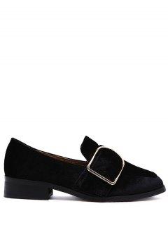 Belt Buckle Square Toe Velvet Flat Shoes - Black 38