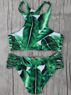 Leaf Print High Neck String Bikini Set - Green L
