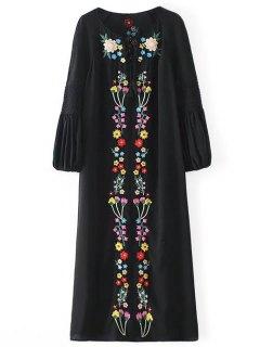 Midi Robe Ethnique Brodé De Fleur - Noir S