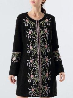 Wool Blend Embroidered Floral Coat - Black M
