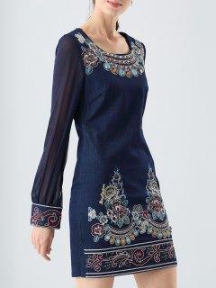 Embroidered Jewelled Denim Sheath Dress - Denim Blue M