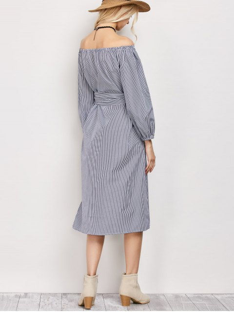 fancy Blouson Sleeve Off The Shoulder Dress - BLUE AND WHITE XL Mobile