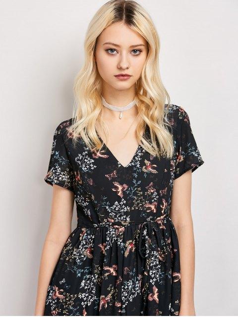 women Tiny Floral V Neck Maxi Dress - BLACK XL Mobile