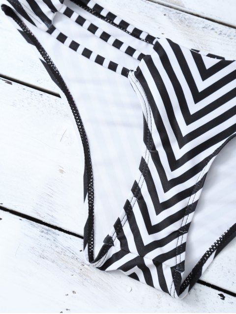 online Halter Cutout Stripe Panel Bikini Set - WHITE AND BLACK L Mobile