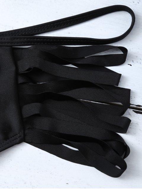 shops Cutout Strappy Bikini Swimwear - BLACK S Mobile