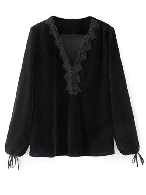 ladies Long Lantern Sleeve Velvet Blouse - BLACK S Mobile
