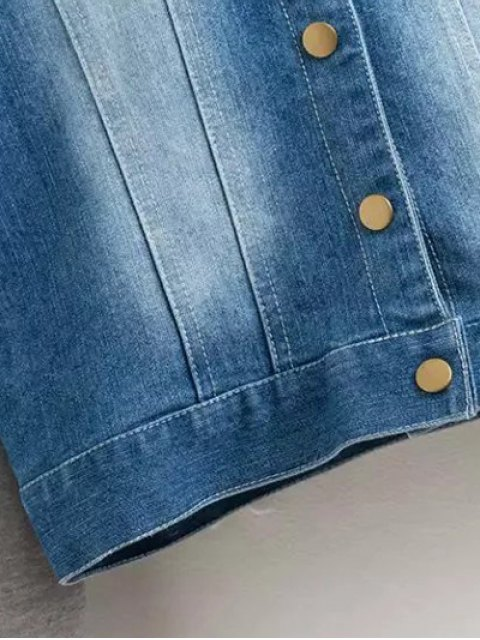 best Hooded Buttoned Denim Jacket - BLUE M Mobile