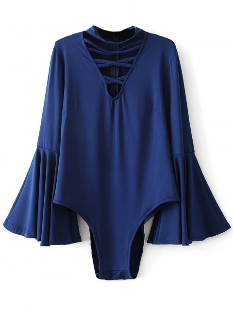 trendy Strappy Flare Sleeve Bodysuit - DEEP BLUE XL Mobile