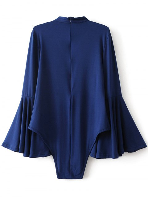 chic Strappy Flare Sleeve Bodysuit - DEEP BLUE S Mobile