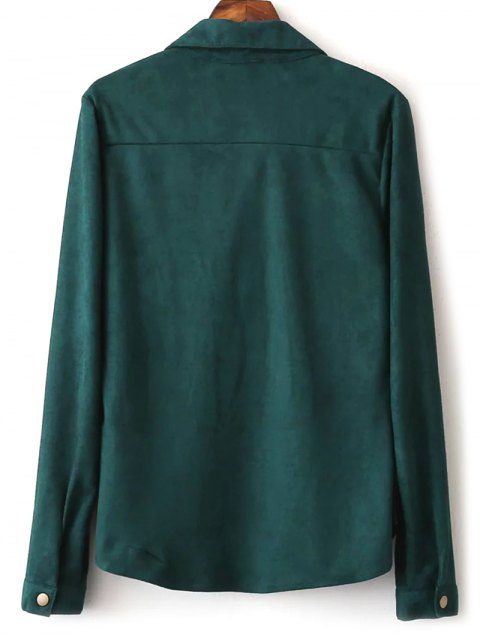 lady Faux Suede Lacing Pussy Bow Blouse - DEEP GREEN L Mobile
