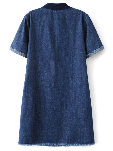 affordable Patch Design Frayed Jean Dress - DENIM BLUE L Mobile