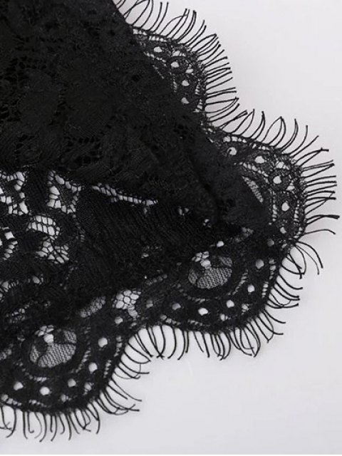 outfit Belled Sleeve Mock Neck Lace Top - BLACK S Mobile