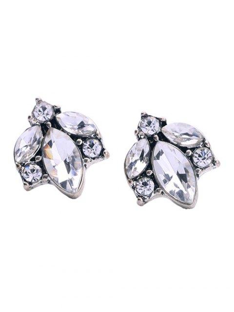 shops Tree Leaf Rhinestoned Earrings - WHITE  Mobile