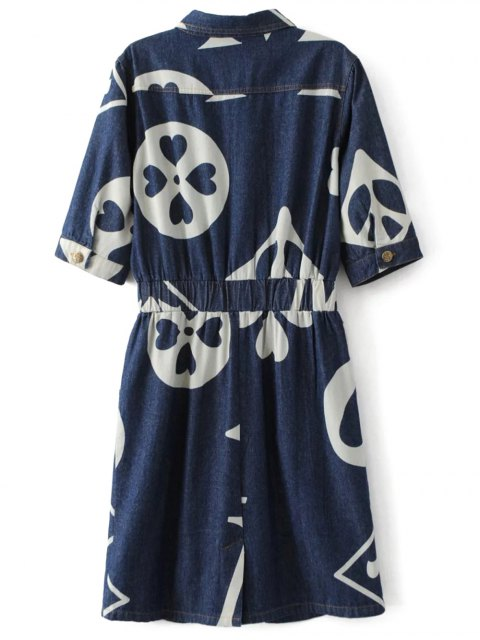latest Denim Printed Shirt Dress - BLUE L Mobile