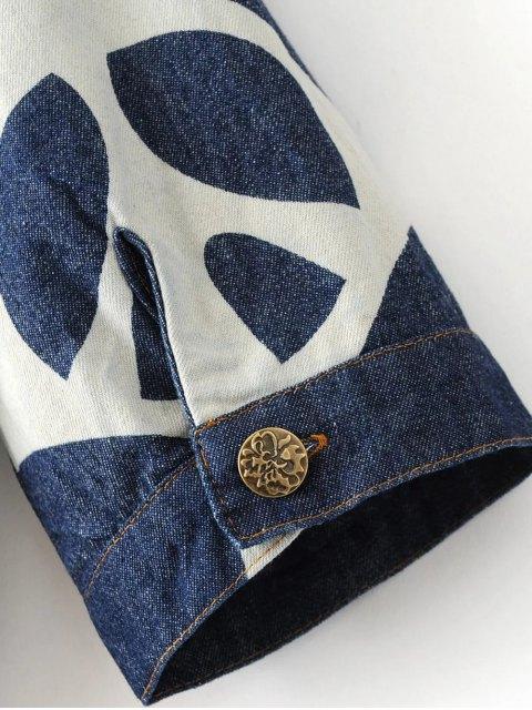 trendy Denim Printed Shirt Dress - BLUE M Mobile
