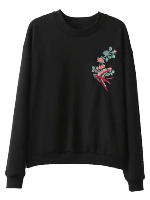 buy Embroidered Relaxed Pullover Sweatshirt - BLACK S Mobile