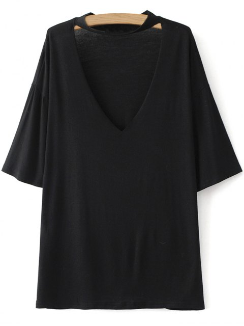 fashion Drop Shoulder Choker Tee - BLACK M Mobile