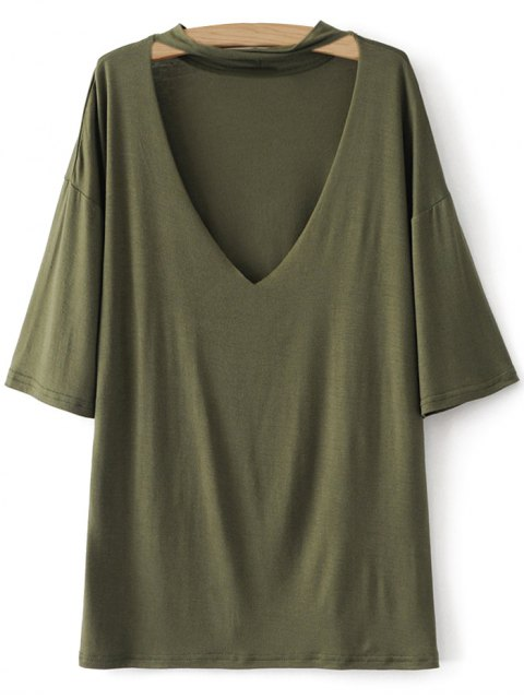 sale Drop Shoulder Choker Tee - GREEN S Mobile