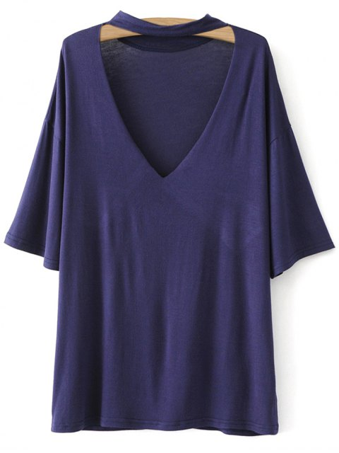 affordable Drop Shoulder Choker Tee - VIOLET BLUE L Mobile