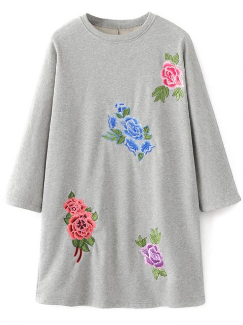 fashion Floral Embroidered Sweatshirt Dress - GRAY S Mobile