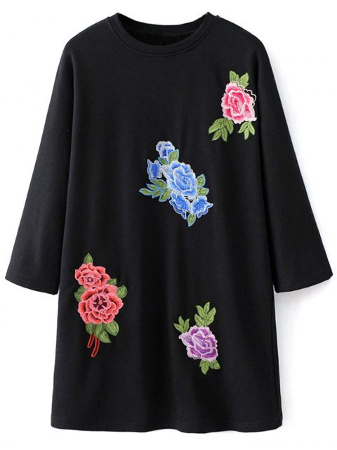 fancy Floral Embroidered Sweatshirt Dress - BLACK M Mobile