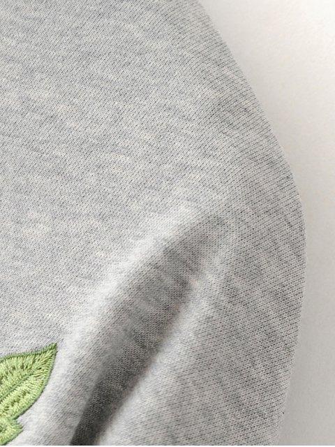 unique Floral Embroidered Sweatshirt Dress - BLACK S Mobile