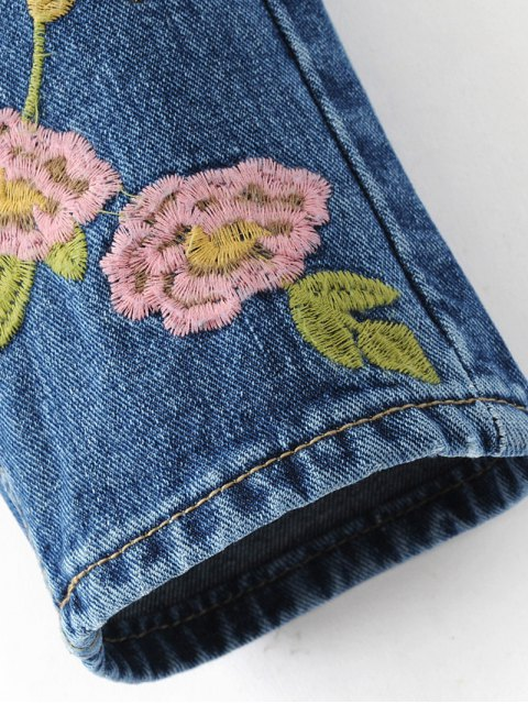 chic Flower Embroidered Straight Jeans - DENIM BLUE M Mobile