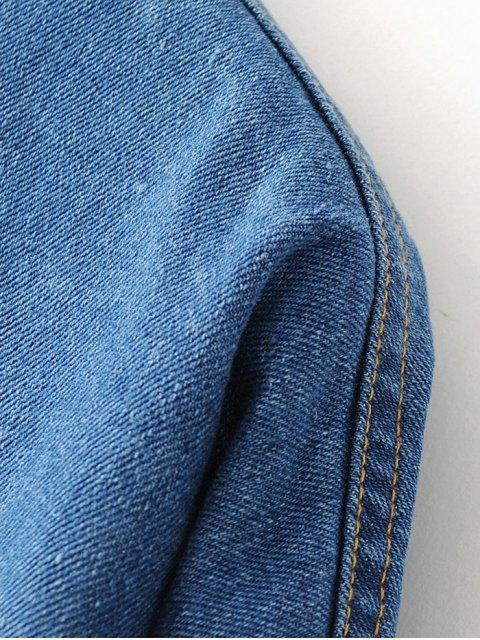 trendy Pocket Cartoon Patch Jean Shirt - DENIM BLUE M Mobile