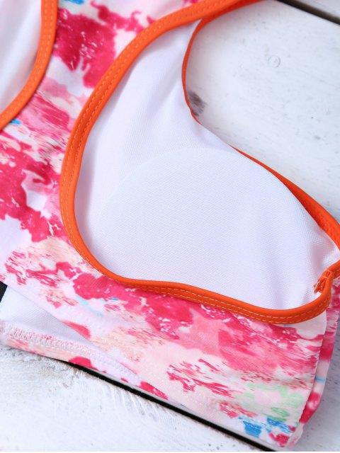 ladies Full Zip Racerback Tie-Dyed Bikini Set - ROSE RED XL Mobile