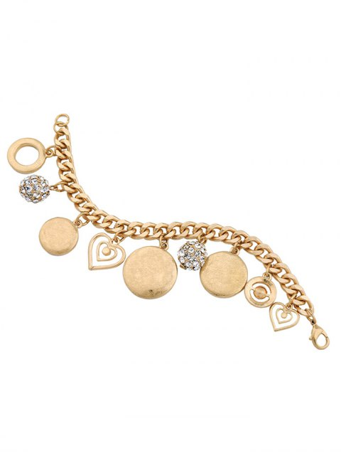 women Rhinestone Circle Heart Charm Bracelet -   Mobile