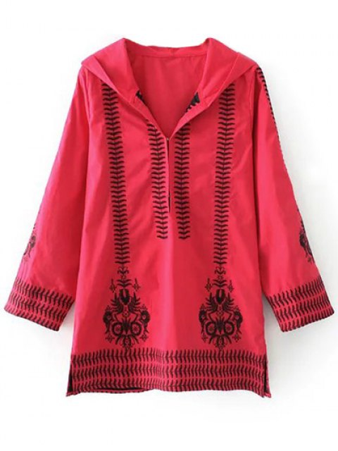 hot Totem Embroidered Hooded Tunic Dress - RED M Mobile