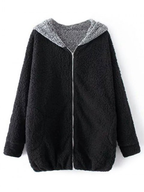 outfits Cartoon Hooded Zipper Sherpa Coat - BLACK ONE SIZE Mobile