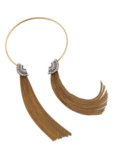 ladies Fringed Rhinestone Torques Necklace - GOLDEN  Mobile