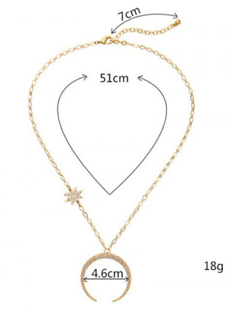 lady Rhinestoned Star Moon Pendant Necklace - GOLDEN  Mobile
