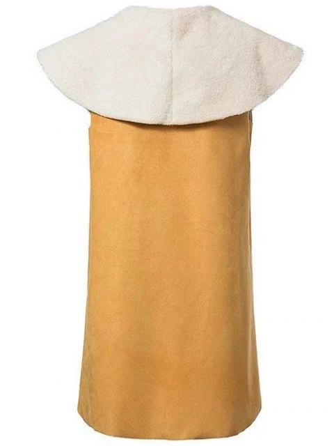 shops Faux Shearling Shawl Collar Waistcoat - YELLOW M Mobile
