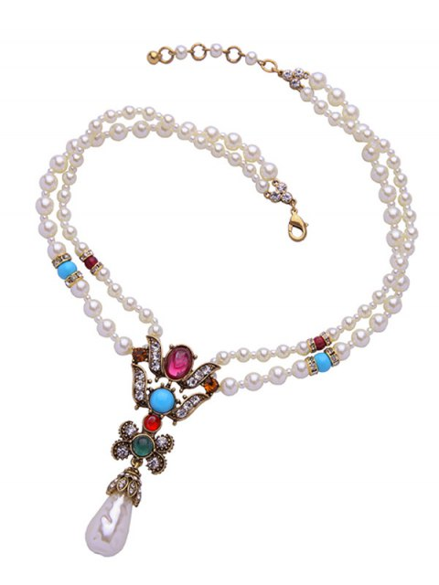 best Faux Pearl Teardrop Beaded Necklace - WHITE  Mobile